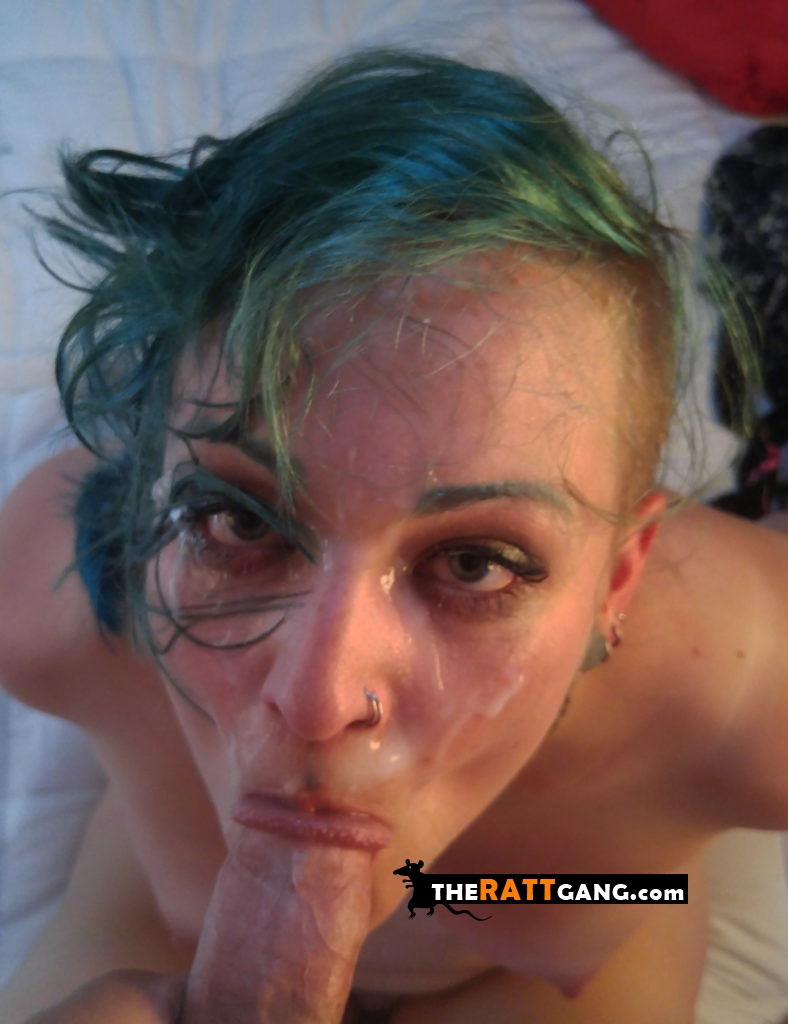 Green haired girl sucks the dick even after a facial cumshot