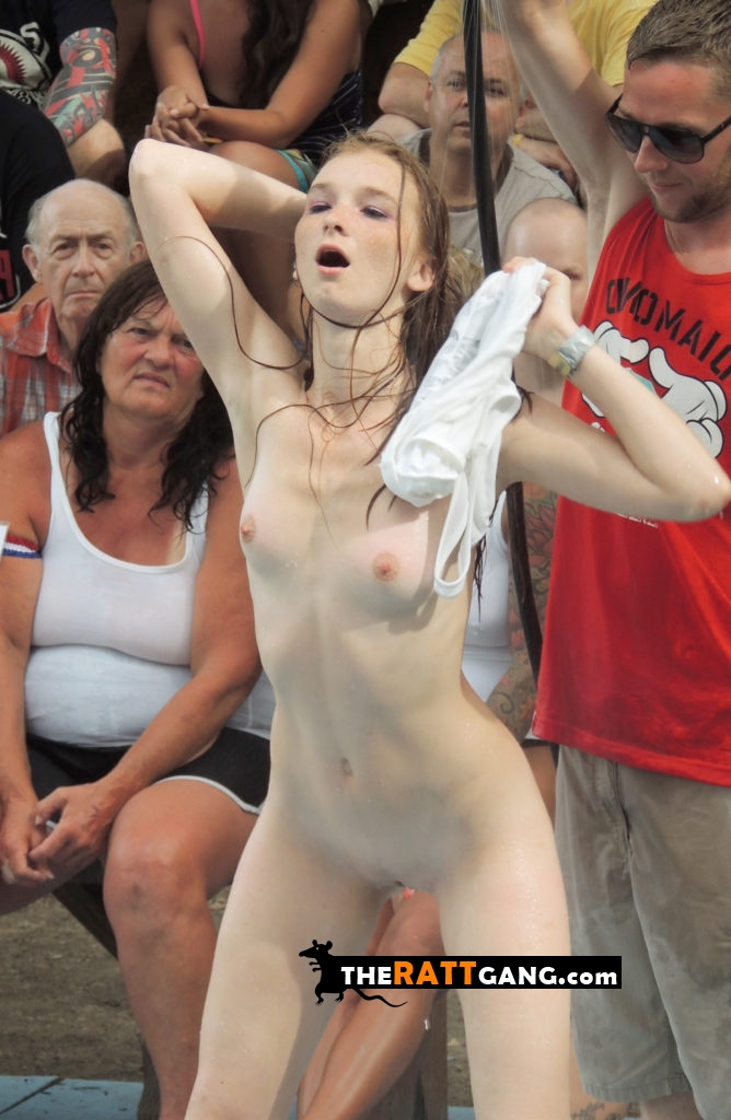 Older people watching hot naked girl's public performance in full nudity